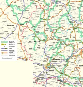 Straßenkarte Luxemburg