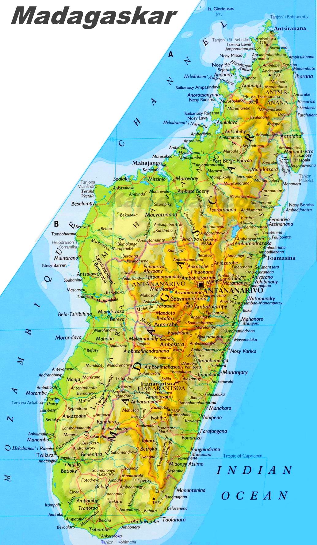 Madagaskar Karte.Grosse Detaillierte Karte Von Madagaskar