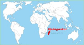 Madagaskar auf der Weltkarte
