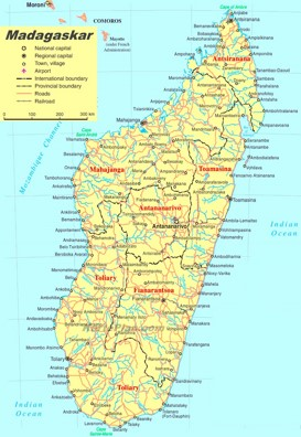 Madagaskar politische karte