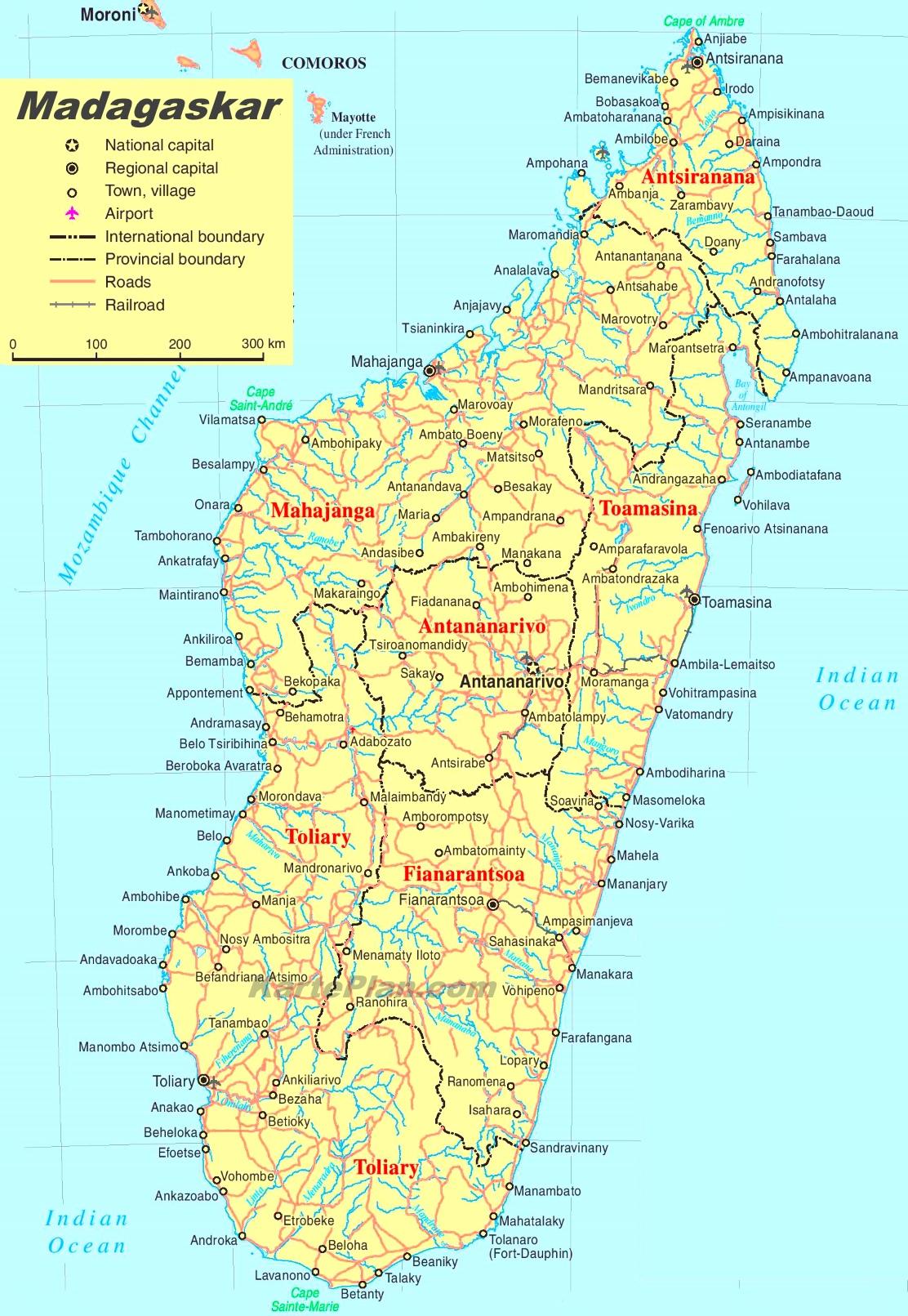 Madagaskar Karte.Madagaskar Politische Karte