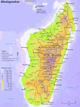 Physische landkarte von Madagaskar