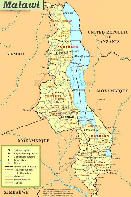 Große detaillierte karte von Malawi