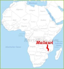 Malawi auf der karte Afrikas