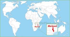 Malawi auf der Weltkarte