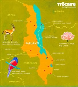 Malawi touristische karte