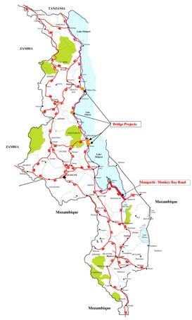 Straßenkarte von Malawi