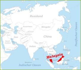 Malaysia auf der karte Asiens