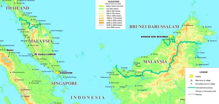 Physische landkarte von Malaysia
