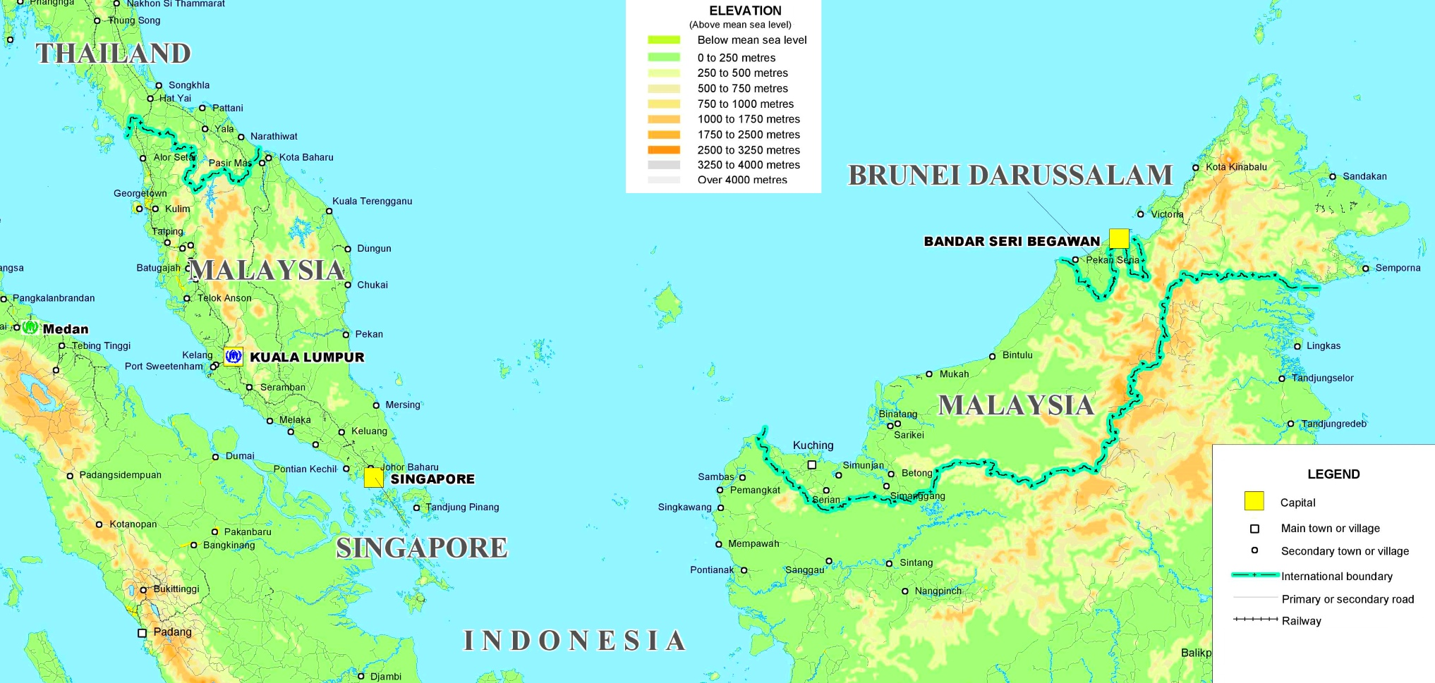 Malaysia Politische Karte