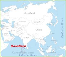 Malediven auf der karte Asiens