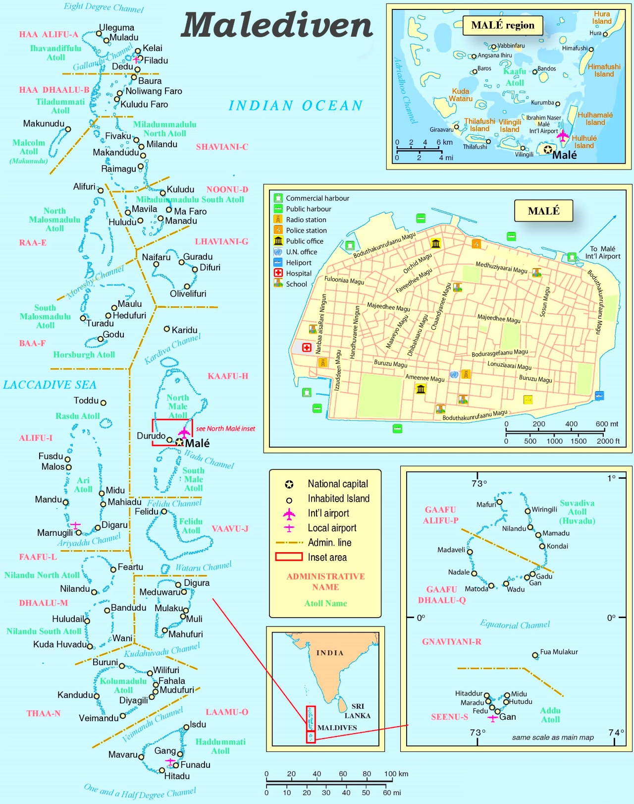 Malediven Politische Karte