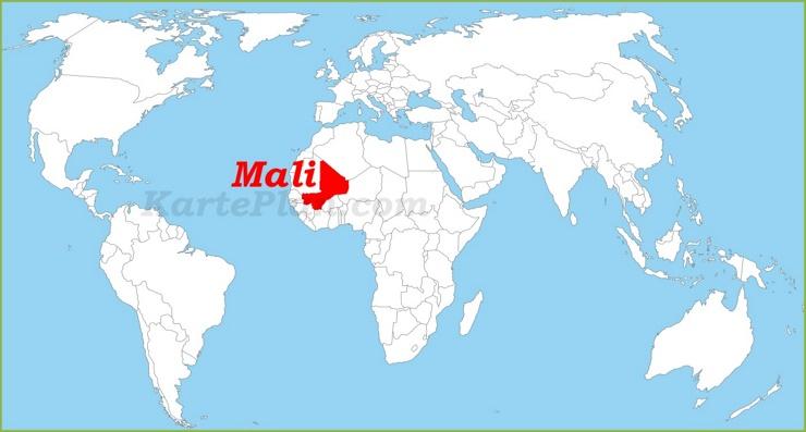 Mali auf der Weltkarte