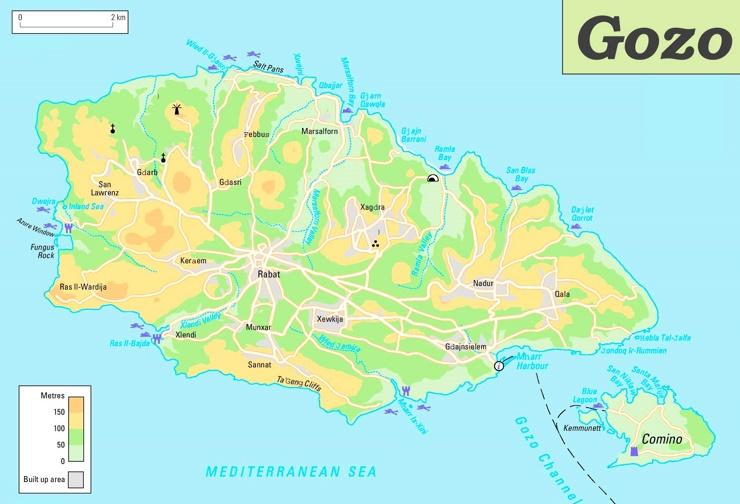 Insel Gozo karte