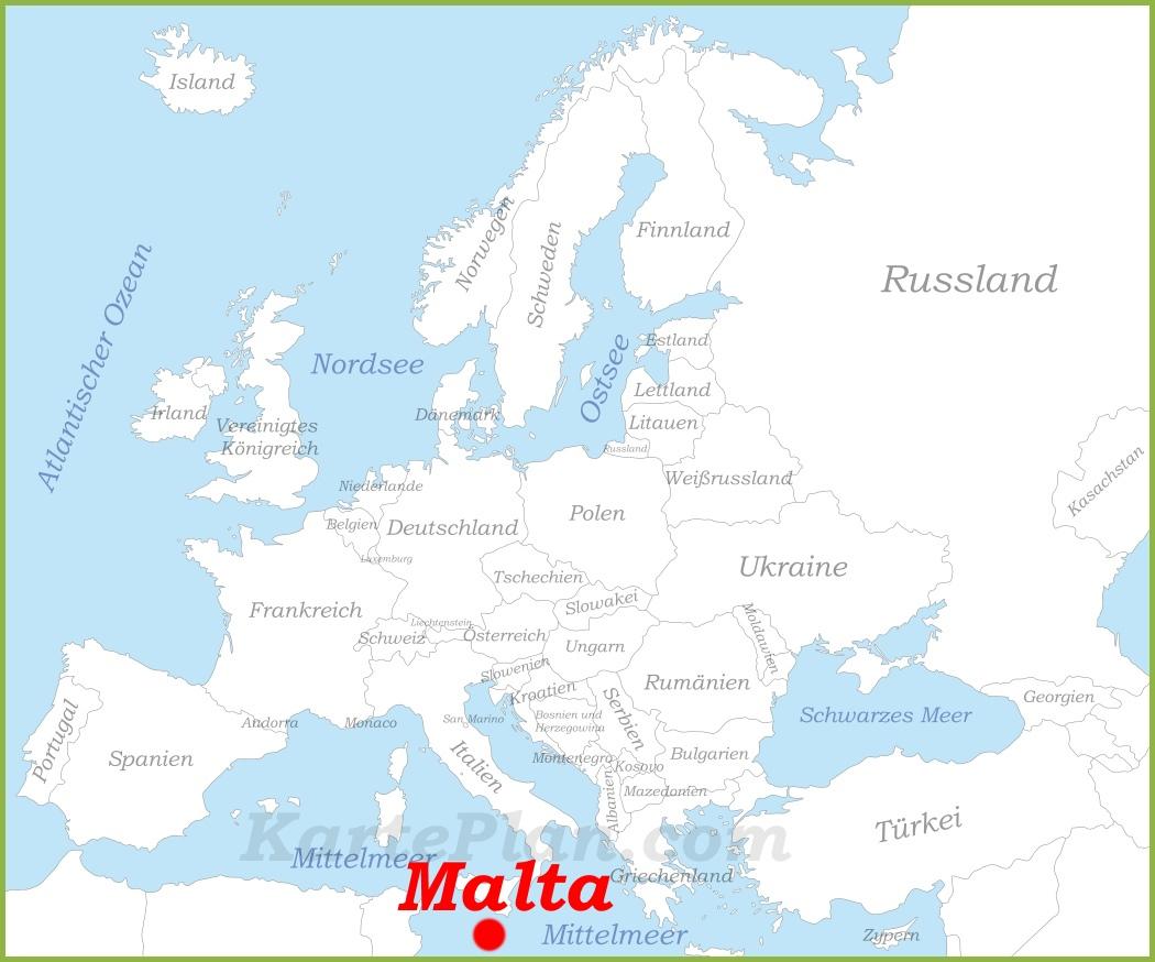 malta karte europa Malta auf der karte Europas