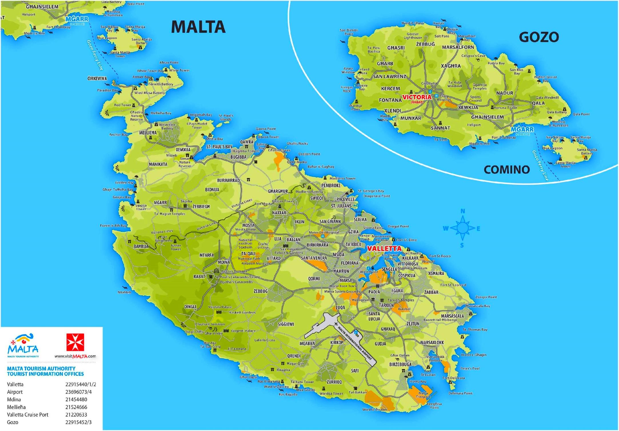 malta karte Malta touristische karte