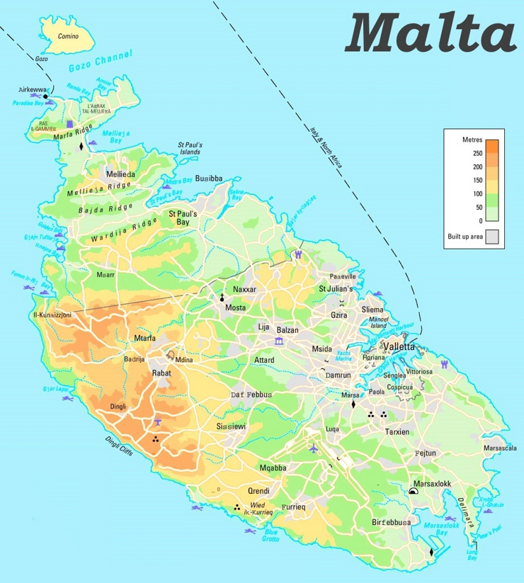 Physische landkarte von Malta
