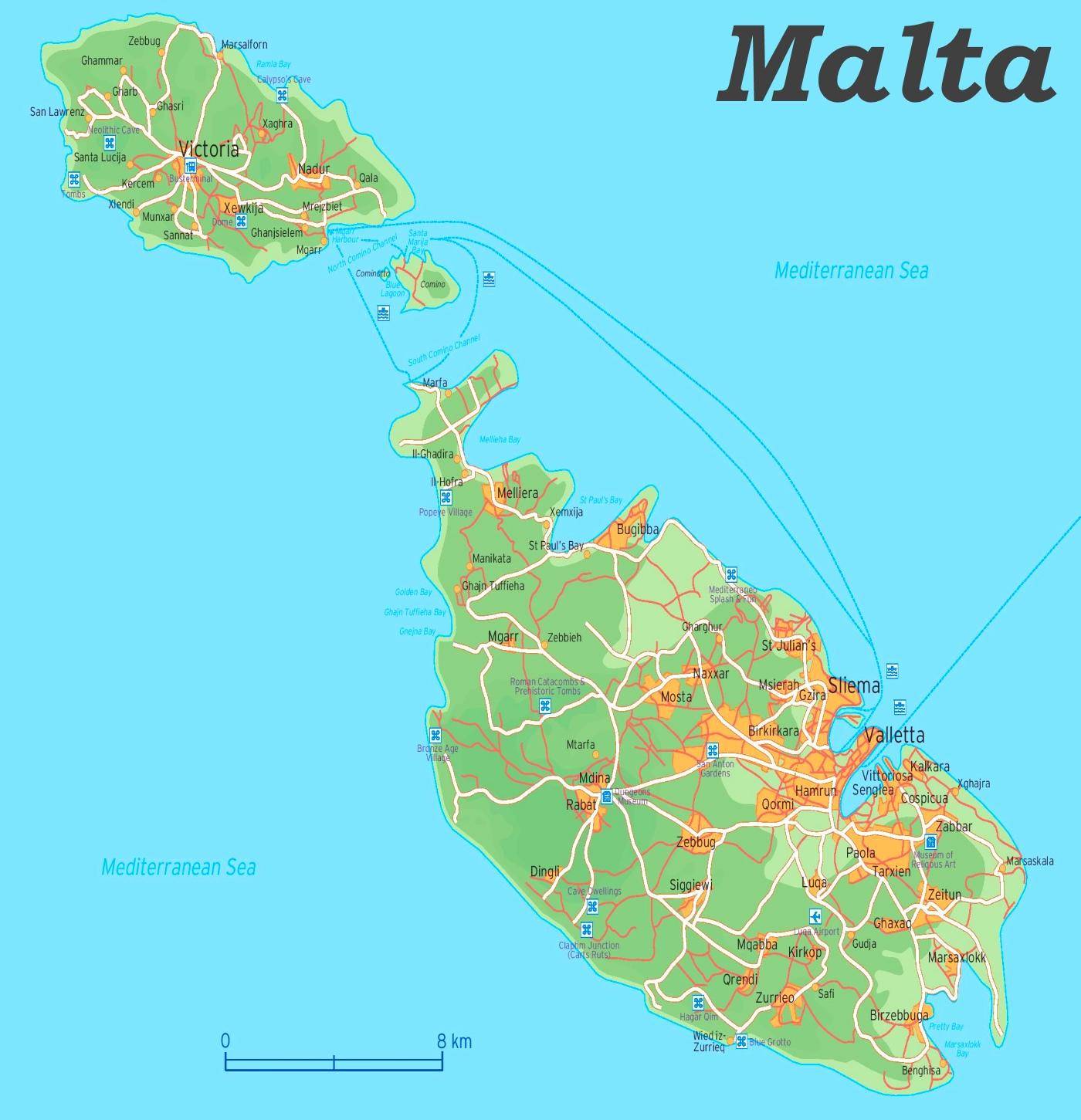 Strassenkarte Von Malta