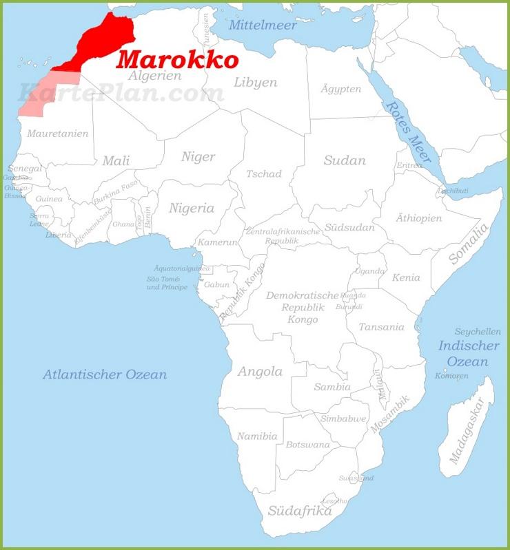 Marokko auf der karte Afrikas