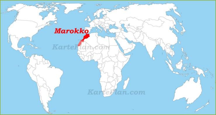 Marokko auf der Weltkarte