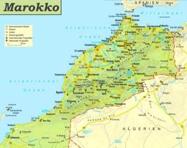 Straßenkarte von Marokko