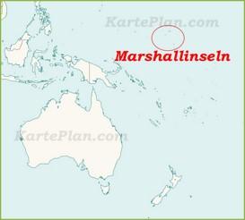 Marshallinseln auf der karte Ozeaniens