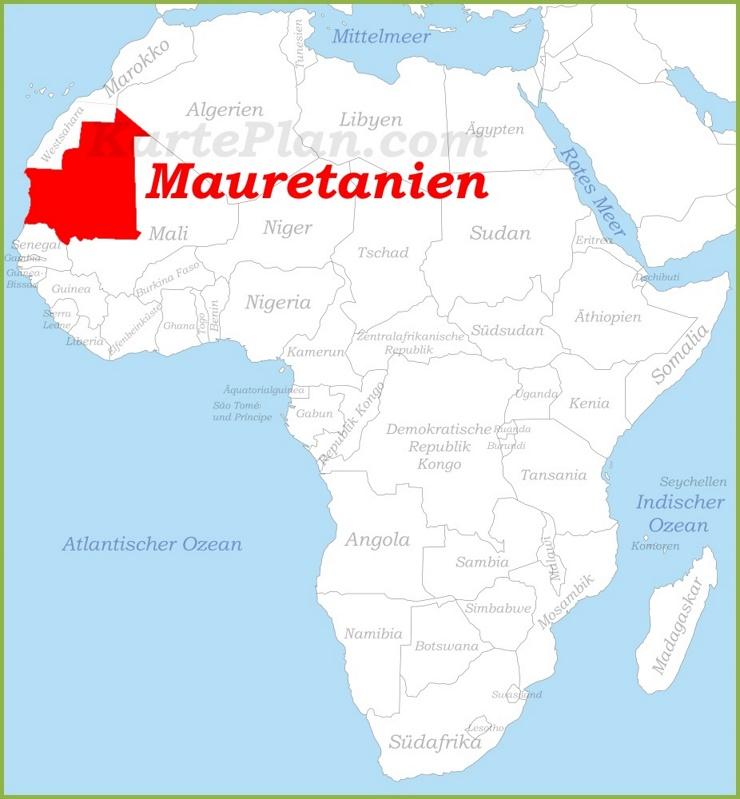 Mauretanien auf der karte Afrikas