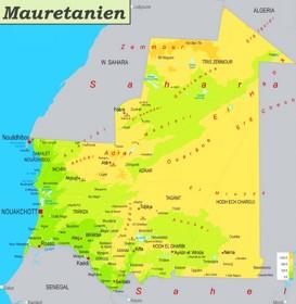 Physische landkarte von Mauretanien