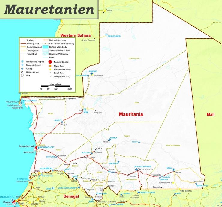 Straßenkarte von Mauretanien