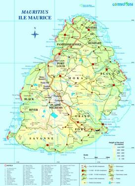 Straßenkarte von Mauritius