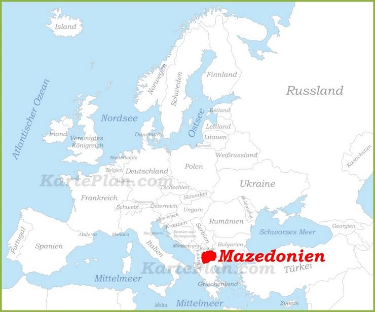 Mazedonien auf der karte Europas