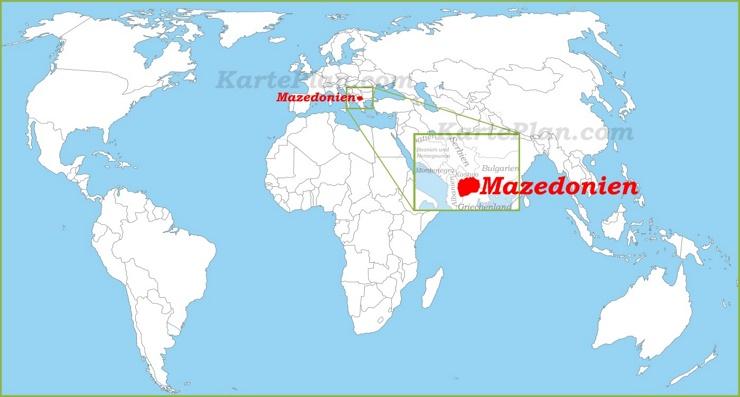 Mazedonien auf der Weltkarte