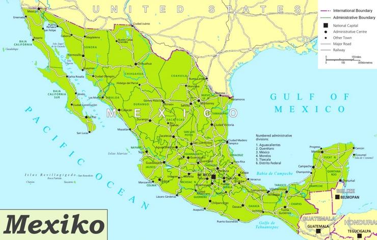 Mexiko karte mit städten
