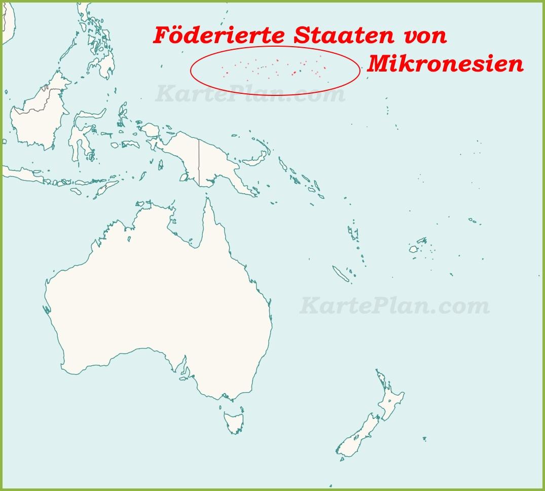 Mikronesien Auf Der Karte Ozeaniens