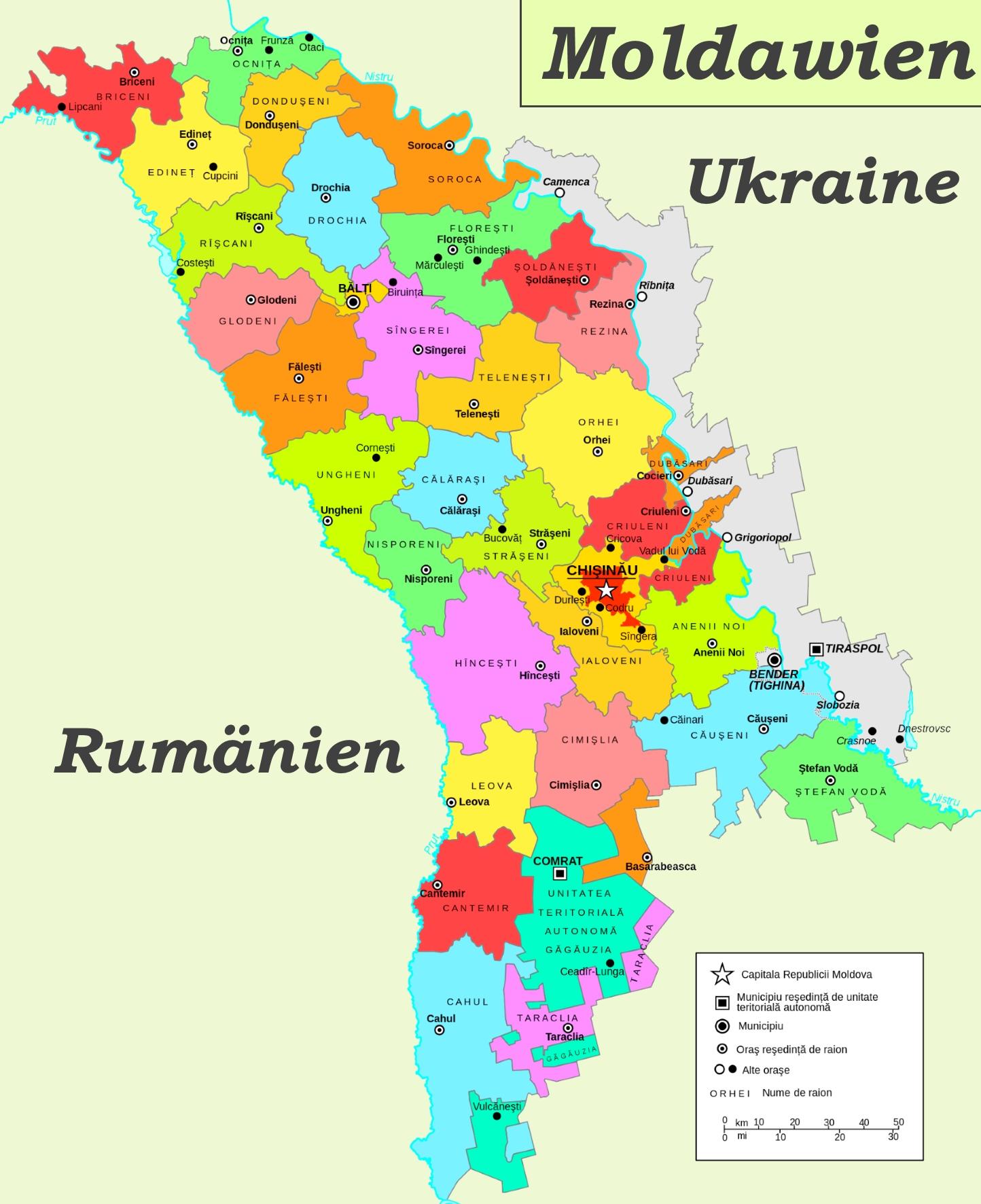 Moldawien Karte.Moldawien Politische Karte