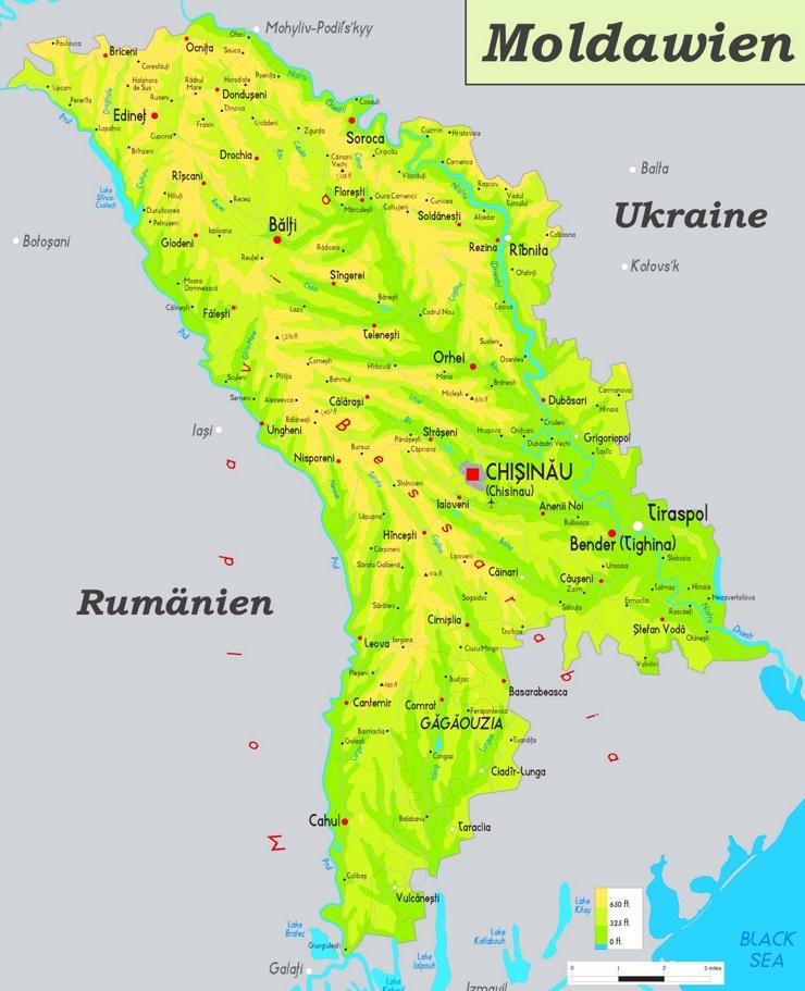 Physische landkarte von Moldawien
