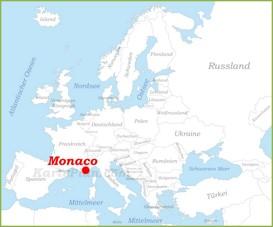 Monaco auf der karte Europas