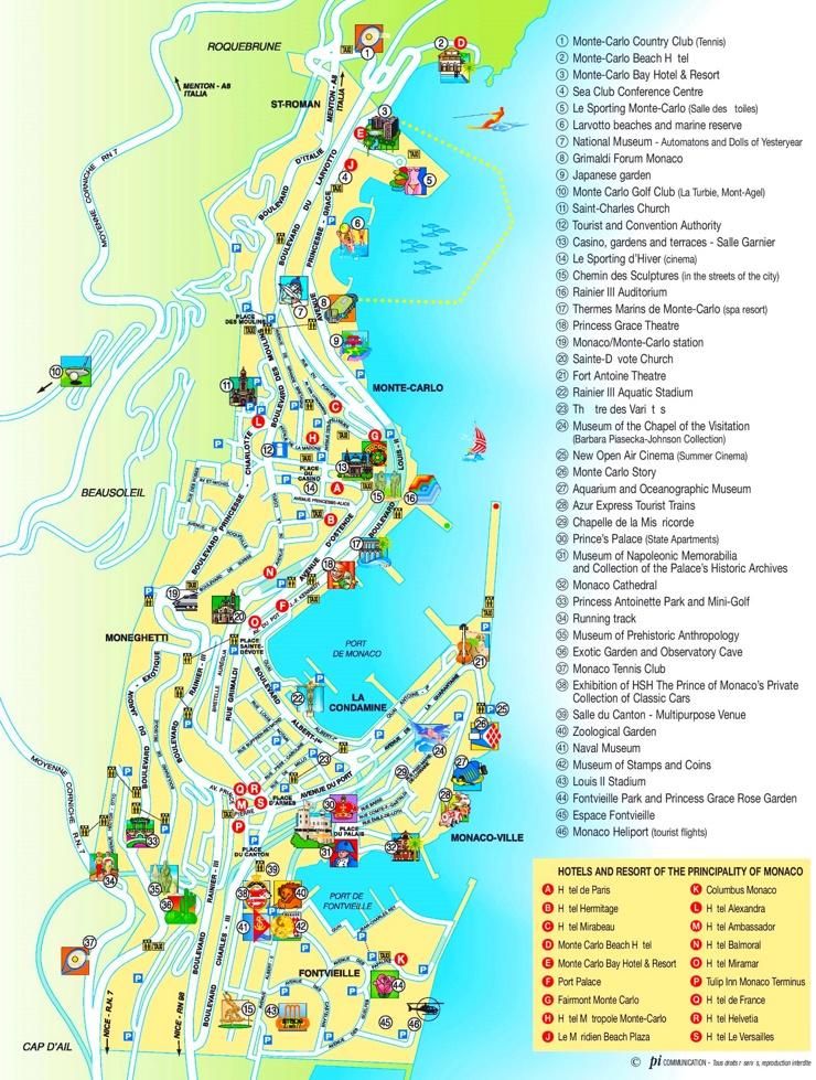 Monaco sehenswurdigkeiten karte