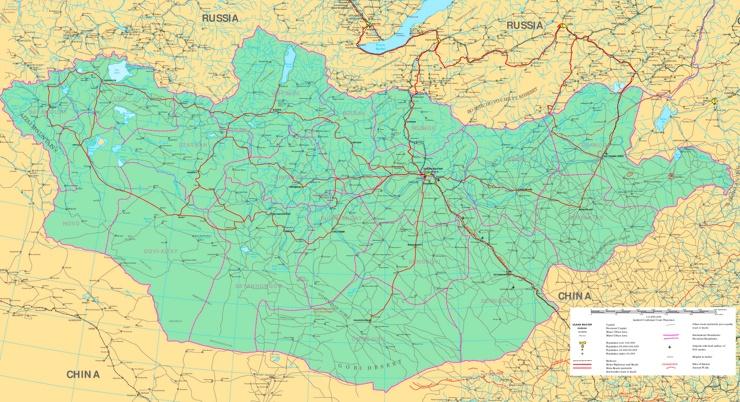 Große detaillierte karte von Mongolei