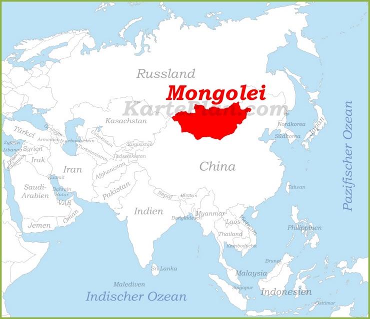 Mongolei auf der karte Asiens