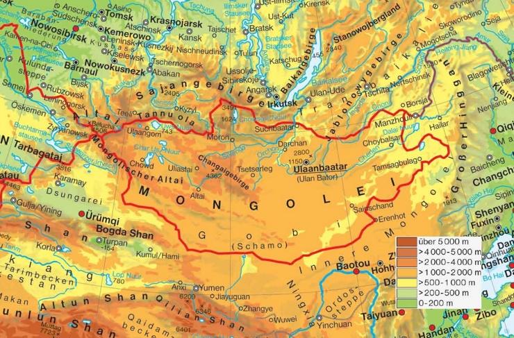 Physische landkarte von Mongolei