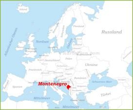 Montenegro auf der karte Europas