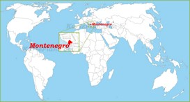 Montenegro auf der Weltkarte