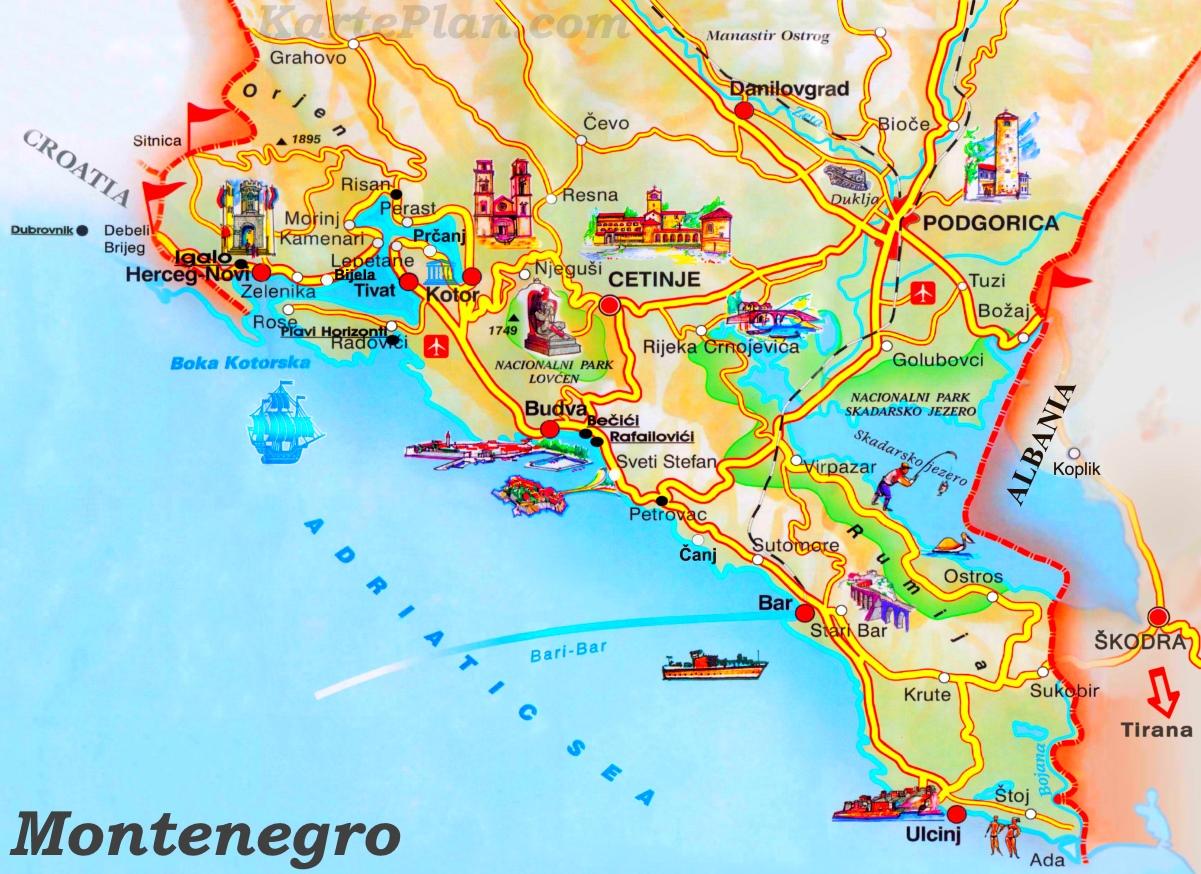 Bar Montenegro Karte.Montenegro Sehenswurdigkeiten Karte