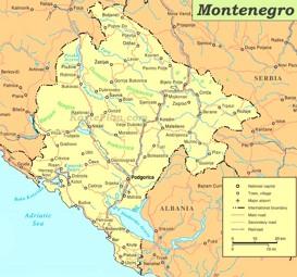 Straßenkarte von Montenegro