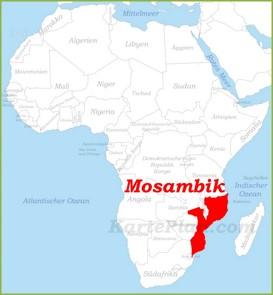 Mosambik auf der karte Afrikas