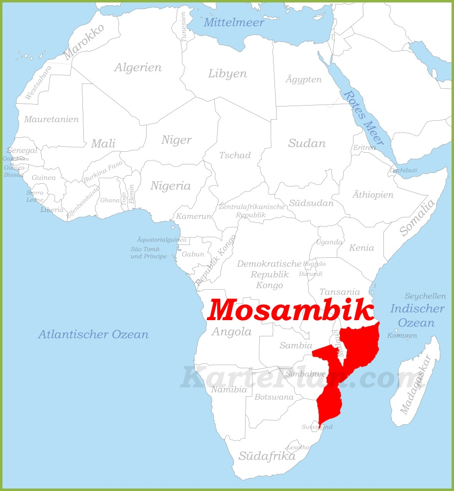 Mosambik Karte.Mosambik Auf Der Karte Afrikas