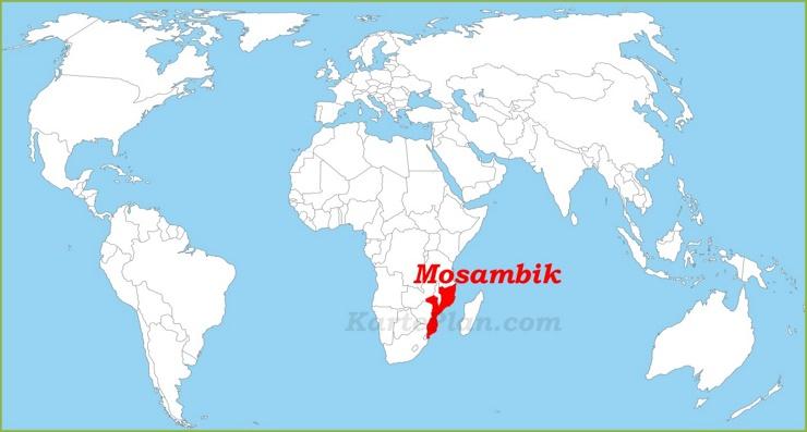 Mosambik auf der Weltkarte
