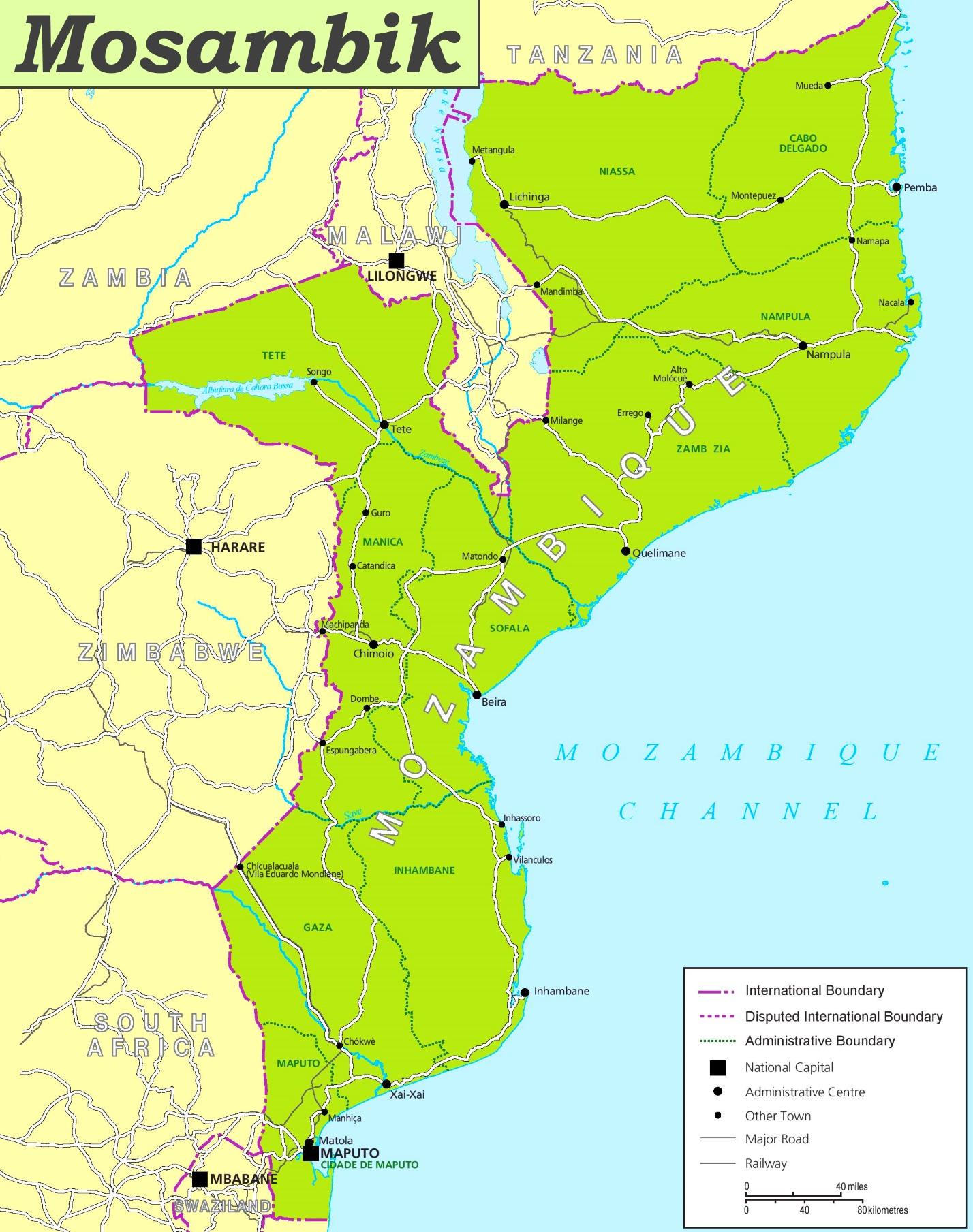 Mosambik Karte.Mosambik Politische Karte