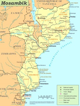 Straßenkarte von Mosambik